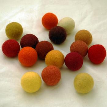 100% Wool Felt Balls - 16 Count - 4cm - Red, Yellow, Orange Colours