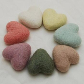 100% Wool Felt Heart - 6cm - Pastel Colours - 7 hearts