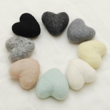 100% Wool Felt Heart - 6cm - Neutral Colours - 8 hearts