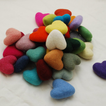100% Wool Felt Heart - 6cm - Assorted Colours - 30 hearts
