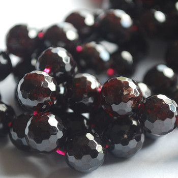 "High Quality Grade A Natural Garnet Faceted Semi-Precious Gemstone Round Beads 6mm, 8mm, 10mm sizes - 15"" long"