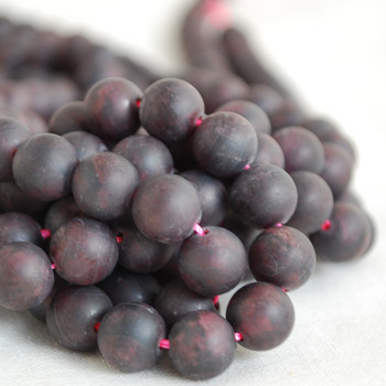 High Quality Grade A Natural Garnet Frosted / Matte Gemstone Round Beads 4mm, 6mm, 8mm, 10mm sizes