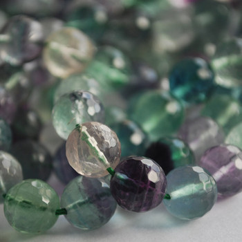 """High Quality Grade A Natural Rainbow Fluorite Faceted Semi-Precious Gemstone Round Beads 6mm, 8mm, 10mm sizes - 15"""" long"""