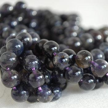 High Quality Grade A Natural Iolite (deep violet blue) Gemstone Round Beads 4mm, 6mm, 8mm, 10mm sizes