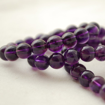 "High Quality Grade AAA Natural Amethyst Semi-Precious Gemstone Round Beads - 8mm - 15"" long"