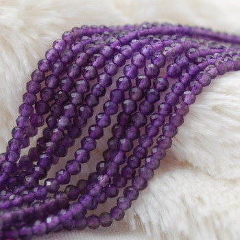 "High Quality Grade A Natural Amethyst Semi-Precious Gemstone Tiny Faceted Rondelle / Spacer Beads - 2mm x 3mm - 15.5"" long"