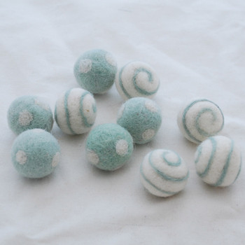 100% Wool Felt Balls - Polka Dots & Swirl Felt Balls - 2.5cm - 10 Count - Powder Blue