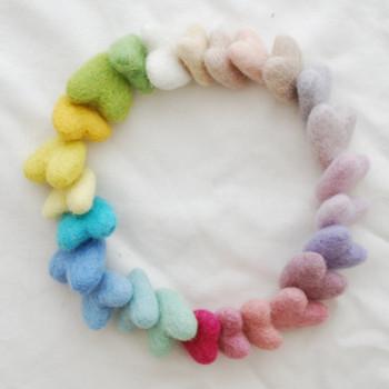 100% Wool Felt Hearts - 25 Count - Approx 3cm - Light, Pale & Pastel Colours