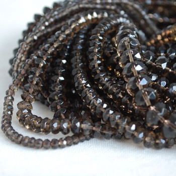 High Quality Grade A Natural Smoky Quartz Semi-Precious Gemstone Faceted Rondelle / Spacer Beads - 3mm, 4mm, 6mm, 8mm, 10mm sizes