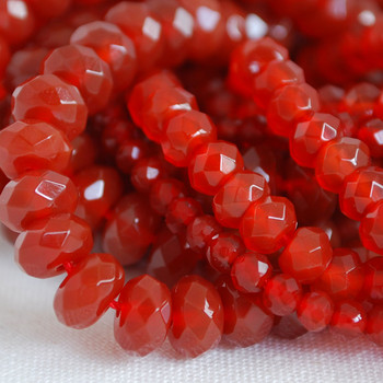 High Quality Grade A Natural Red Carnelian Agate Semi-Precious Gemstone Faceted Rondelle / Spacer Beads - 3mm, 4mm, 6mm, 8mm sizes