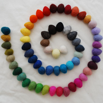 100% Wool Felt Raindrops / Teardrops - 60 Count - Assorted Colours