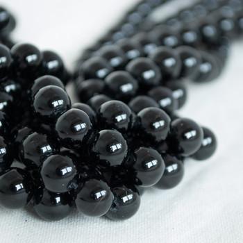High Quality Grade A Natural Black Tourmaline Semi-precious Gemstone Round Beads - 4mm, 6mm, 8mm, 10mm sizes