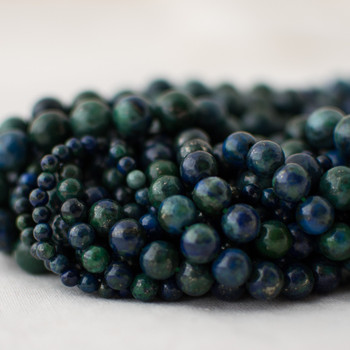 High Quality Grade A Malachite Azurite (blue, green) (dyed) Semi-precious Gemstone Round Beads - 4mm, 6mm, 8mm, 10mm sizes