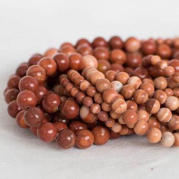 High Quality Grade A Natural Red Malachite Semi-precious Gemstone Round Beads - 4mm, 6mm, 8mm sizes