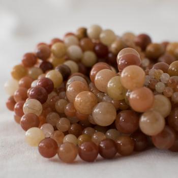 High Quality Grade A Natural Quartzite (orange) Semi-precious Gemstone Round Beads - 4mm, 6mm, 8mm, 10mm sizes