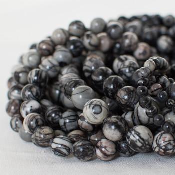 High Quality Grade A Natural Silk Stone (grey) Semi-precious Gemstone Round Beads - 4mm, 6mm, 8mm, 10mm sizes