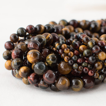 High Quality Grade A Natural Multi-colour Tiger Eye Semi-precious Gemstone Round Beads - 4mm, 6mm, 8mm, 10mm sizes