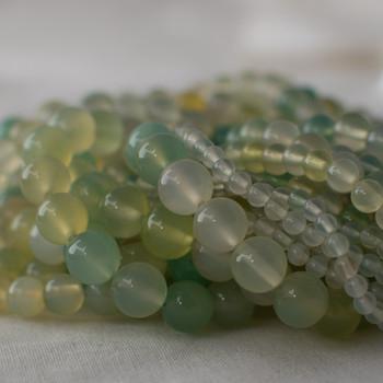 High Quality Grade A Grape Agate (green) Semi-precious Gemstone Round Beads - 4mm, 6mm, 8mm, 10mm sizes