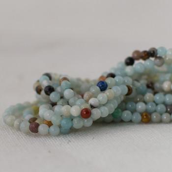 "High Quality Grade A Natural Multi-colour Amazonite Semi-Precious Gemstone Round Beads - 2mm - 15.5"" long"