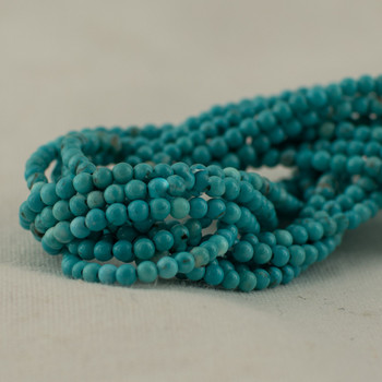 """High Quality Grade A Turquoise (dyed) Semi-Precious Gemstone Round Beads - 2mm - 15.5"""" long"""