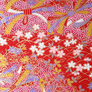 Japanese Handcrafted Yuzen Washi Chiyogami Origami Paper Large sheet - Pink & White Cherry Flowers - approx 630mm x 945mm