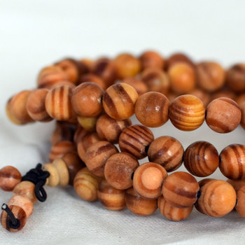 Natural Agathis Round Wood Beads - 108 beads - Mala Prayer Beads - 6mm, 8mm