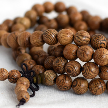 Natural African Sennawood Siamese Round Wood Beads - 108 beads - Mala Prayer Beads - 8mm - Light Colour