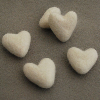 100% Wool Felt Hearts - 5 Count - Ivory White - Approx 3.5cm