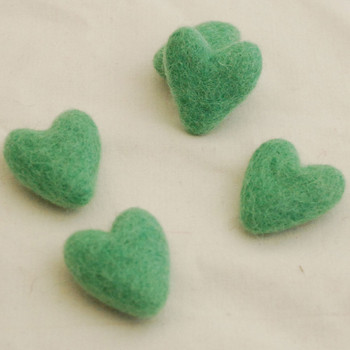 100% Wool Felt Hearts - 5 Count - Jade Green - Approx 3.5cm