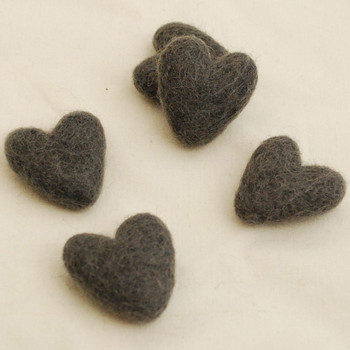 100% Wool Felt Hearts - 5 Count - Ash Grey - Approx 3.5cm