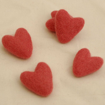 100% Wool Felt Hearts - 5 Count - Antique Rose Pink - Approx 3.5cm
