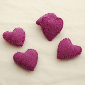 100% Wool Felt Fabric Hand Sewn / Stitched Felt Heart - 2 Count - approx 5.5cm - Dark Amethyst Purple