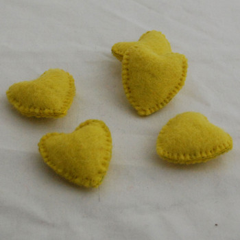 100% Wool Felt Fabric Hand Sewn / Stitched Felt Heart - 2 Count - approx 5.5cm - Lemon Yellow