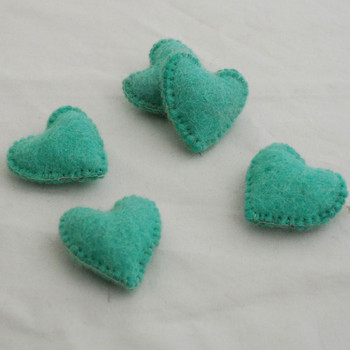 100% Wool Felt Fabric Hand Sewn / Stitched Felt Heart - 2 Count - approx 5.5cm - Aquamarine Green