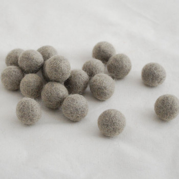 100% Wool Felt Balls - 10 Count - 2cm - Taupe Grey
