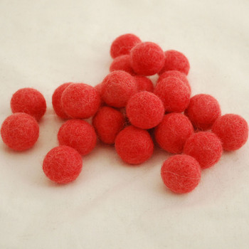 100% Wool Felt Balls - 10 Count - 2cm - Light Coral Red