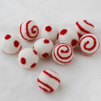 100% Wool Felt Balls - 10 Count - Ivory White Felt Balls with Red Polka Dots / Swirl - approx 2.5cm