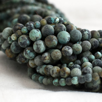 High Quality Grade A Natural African Turquoise Frosted / Matte Semi-precious Gemstone Round Beads - 4mm, 6mm, 8mm, 10mm sizes