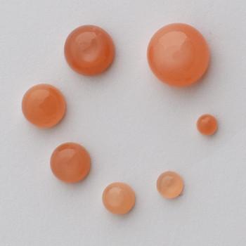 Grade AA Natural Peach Moonstone Semi-precious Gemstone Round Cabochon - 3mm, 4mm, 5mm, 6mm, 7mm, 8mm, 10mm sizes