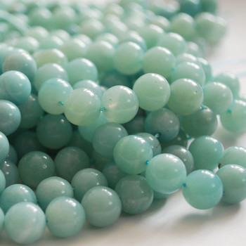 High Quality Grade A Natural Amazonite Semi-Precious Gemstone Round Beads - 4mm, 6mm, 8mm, 10mm, 12mm