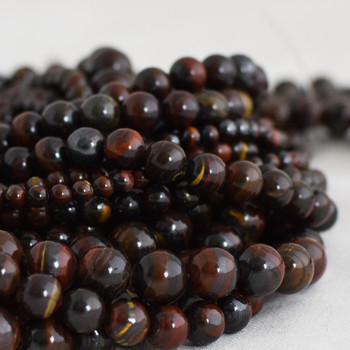 High Quality Grade A Natural Red Iron Tiger Eye Semi-precious Gemstone Round Beads - 4mm, 6mm, 8mm, 10mm sizes