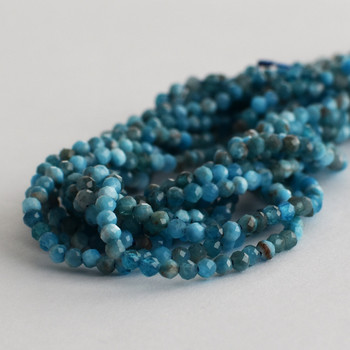 """High Quality Grade A Natural Apatite Faceted Semi-Precious Gemstone Round Beads - 2mm - 15.5"""" long"""