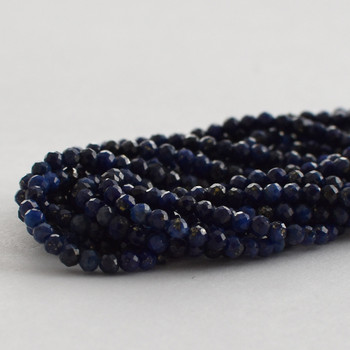 """High Quality Grade A Natural Lapis Lazuli Faceted Semi-Precious Gemstone Round Beads - 2mm - 15.5"""" long"""