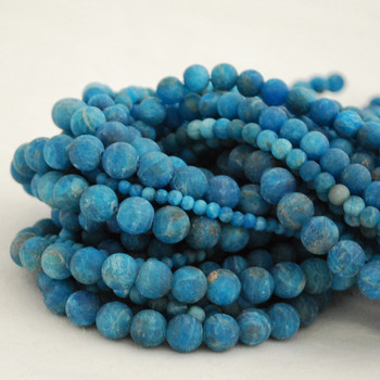 High Quality Grade A Natural Apatite Frosted / Matte Semi-Precious Gemstone Round Beads - 4mm, 6mm, 8mm, 10mm sizes