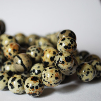 High Quality Grade A Natural Dalmatian Jasper Semi-Precious Gemstone Round Beads - 4mm, 6mm, 8mm, 10mm