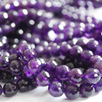 "High Quality Grade A Natural Amethyst Faceted Semi-precious Gemstone Round Beads 6mm, 8mm, 10mm sizes - 15"" long"