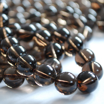 High Quality Grade A Natural Smoky Quartz Semi-precious Gemstone Round Beads 4mm, 6mm, 8mm, 10mm sizes