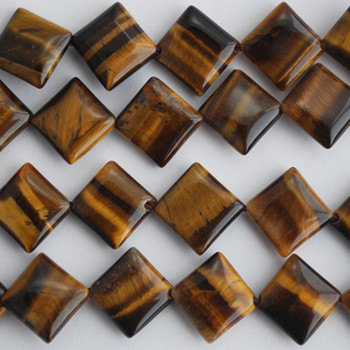 10 Natural Tiger's / Tiger Eye Diamond Beads 10mm x 10mm