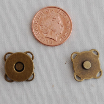 5 Sets Sew On Magnetic Snap Button Bag Clasp - 14mm - Bronze