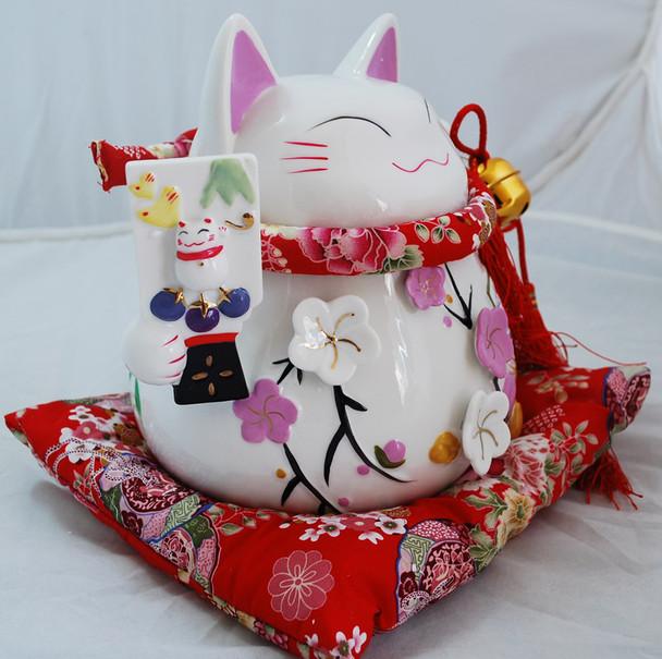 Large Japanese Lucky Cat Maneki Neko FENG SHUI Money Box Piggy Bank Pink